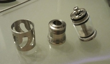 The Steam Turbine clone broken down: the sleeve, the top cap and the atomizer body.