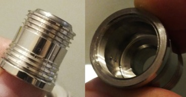 The air holes on the Steam Turbine clone's top cap are tiny. Also, notice the bad finishing on the inside of the top cap.